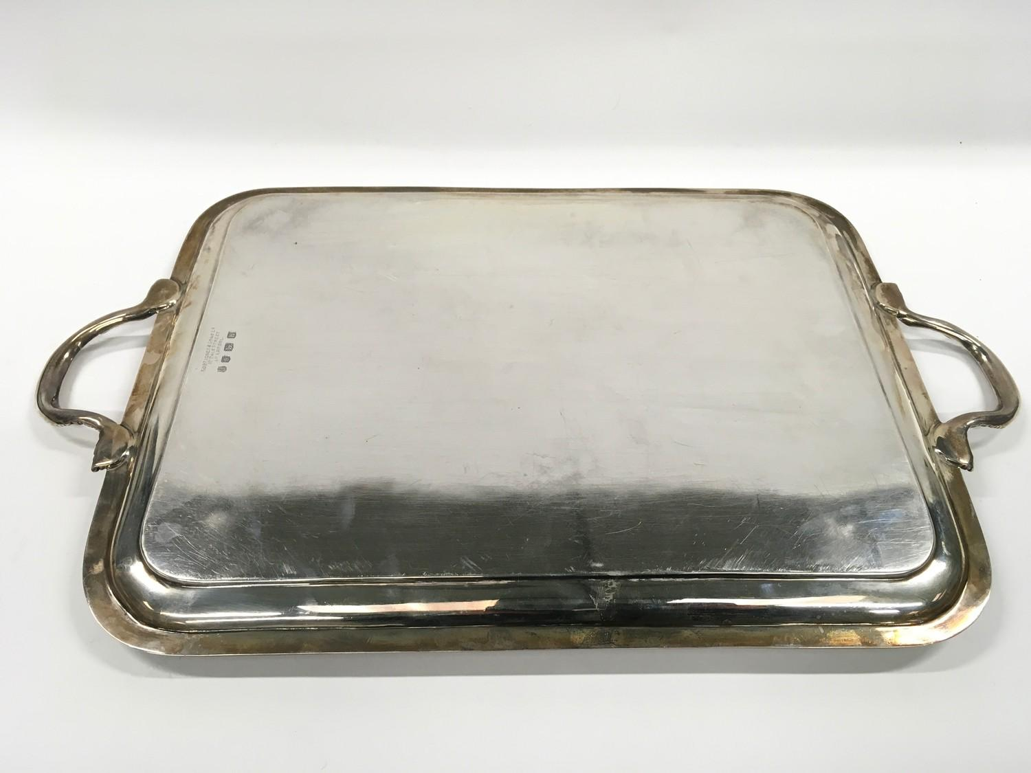 Large two handed Silver tray of approximately 2 kilos in weight. - Image 4 of 5