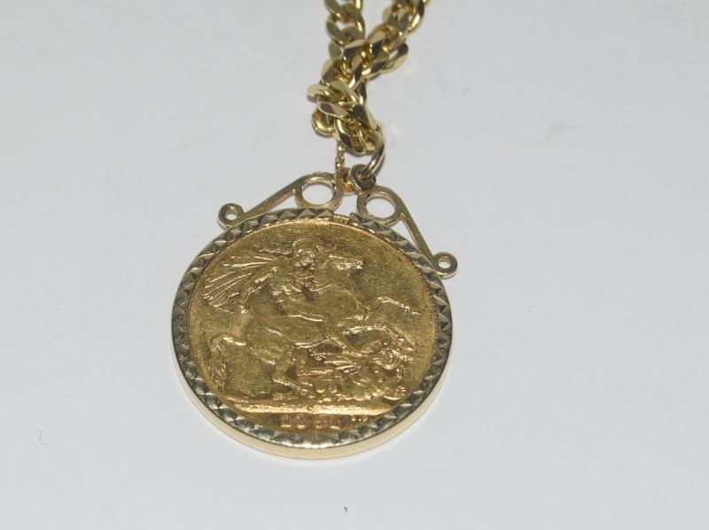 14ct Gold flat curb chain - 48 cm long with the Jubilee sovereign 1891 in a 9ct Gold mount. - Image 3 of 5