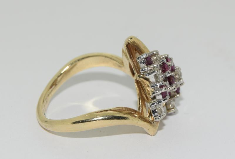 A 14ct yellow gold ruby and diamond ring in the Art Deco style. Size P - Image 2 of 6
