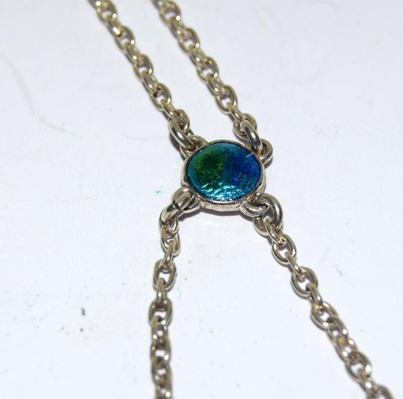 Silver Enamel Art Deco Charles Horner Necklace, Fully Marked. - Image 4 of 12
