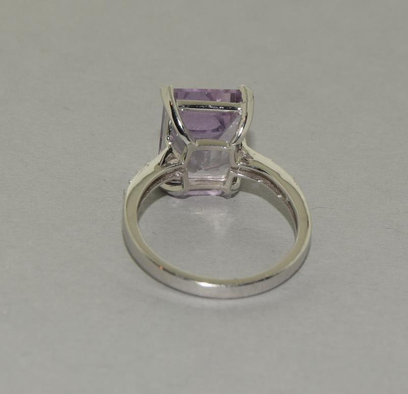 Large Emerald Cut Amethyst 925 Silver Ring. Size Q. - Image 6 of 8