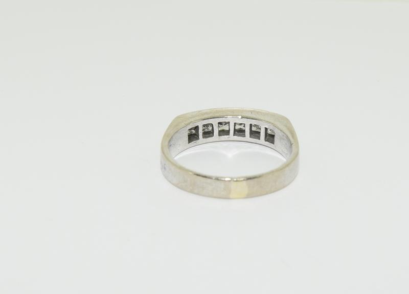 An 18ct white gold Princess cut half eternity band, Size Q, 6.7grams - Image 3 of 6
