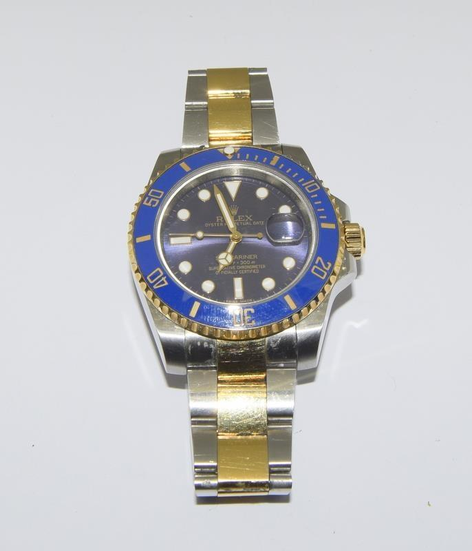 Rolex Submariner Blue Bi Metal 18ct Gold on Stainless Steel ceramic bezel gents wristwatch. No - Image 7 of 9