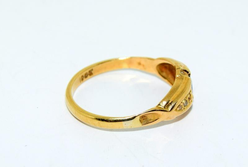 18ct Gold Ladies Antique Diamond & Sapphire Ring. Size O. - Image 3 of 10