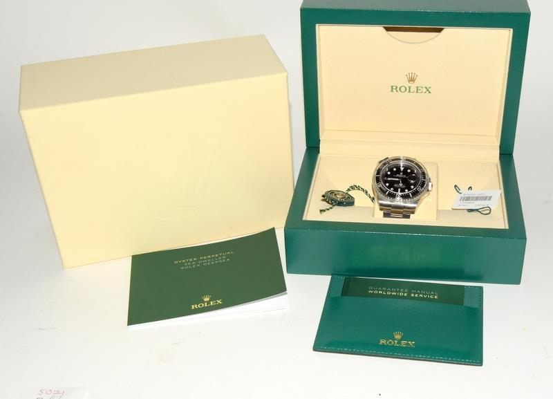 Rolex Anniversary single Red Sea-Dweller Wristwatch, boxed.