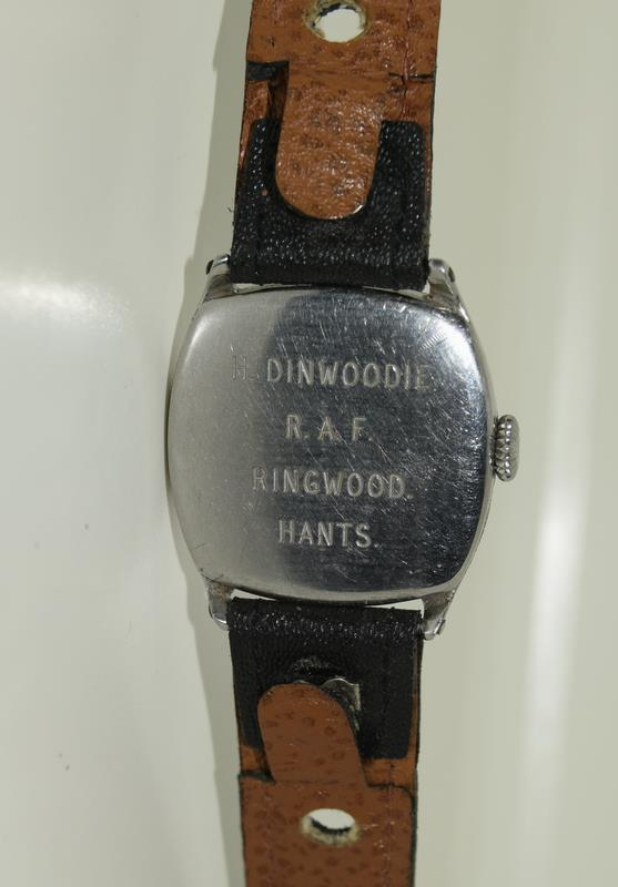 Omega gents 1930/40s manual wind wristwatch of RAF military interest (H.Dinwoodie RAF, British Army, - Image 3 of 8