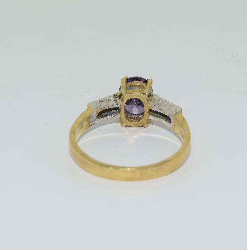 9ct Gold on Silver Amethyst CZ ring. - Image 3 of 5