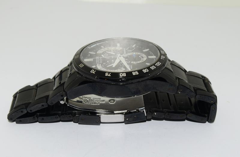 Citizen Eco-Drive Perpetual Calendar Sapphire wr 200 mans watch in black. - Image 12 of 16