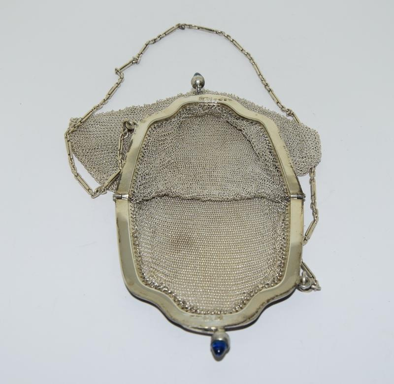 3 Silver Purses. One with Blue Cabuchon Clasp and Black Enamel Sides. One Early Import Mark, - Image 6 of 18