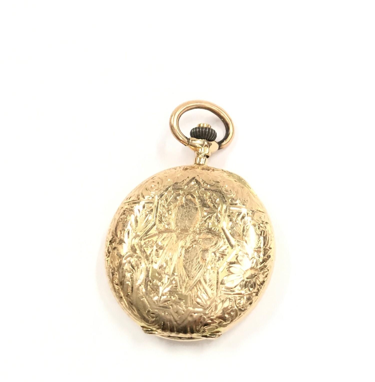 14ct Gold ladies Full Hunter pocket watch.