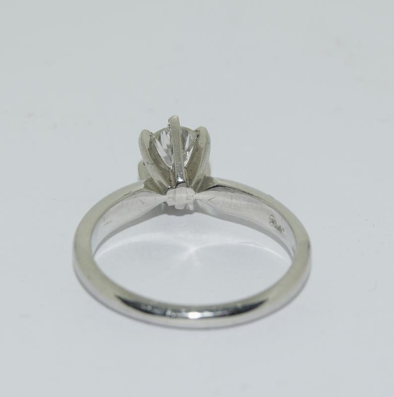 A Platinum set single stone ring of 65 points approx. Size L - Image 3 of 6