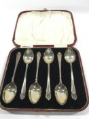 A box set of six Silver teaspoons. Maker James Dixon.