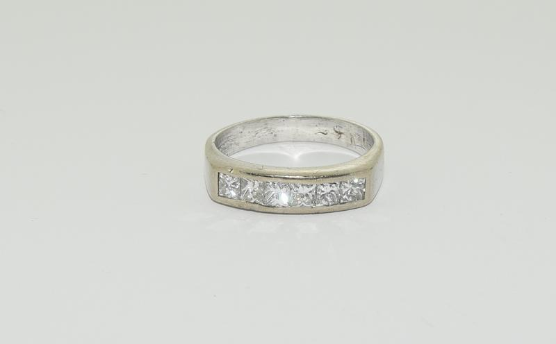 An 18ct white gold Princess cut half eternity band, Size Q, 6.7grams - Image 6 of 6