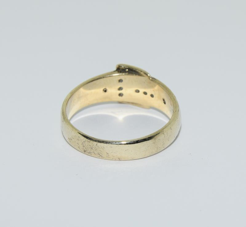 9ct Gold Gents Buckle Ring Fitted with Diamonds. Size T - Image 3 of 6