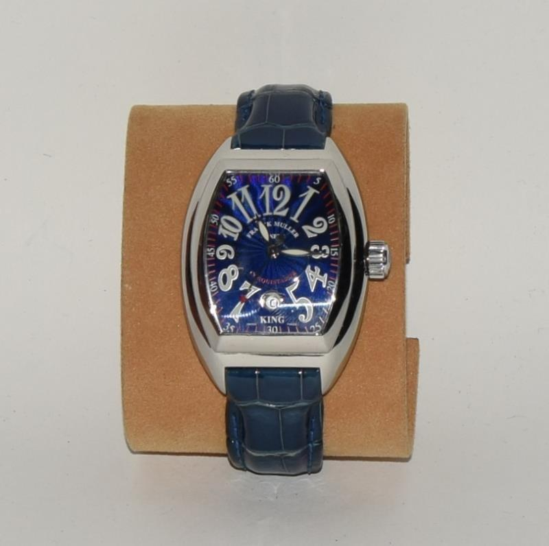 Franck Muller Stainless Steel King Conquistador wristwatch on leather strap, boxed and papers Ref. - Image 2 of 7