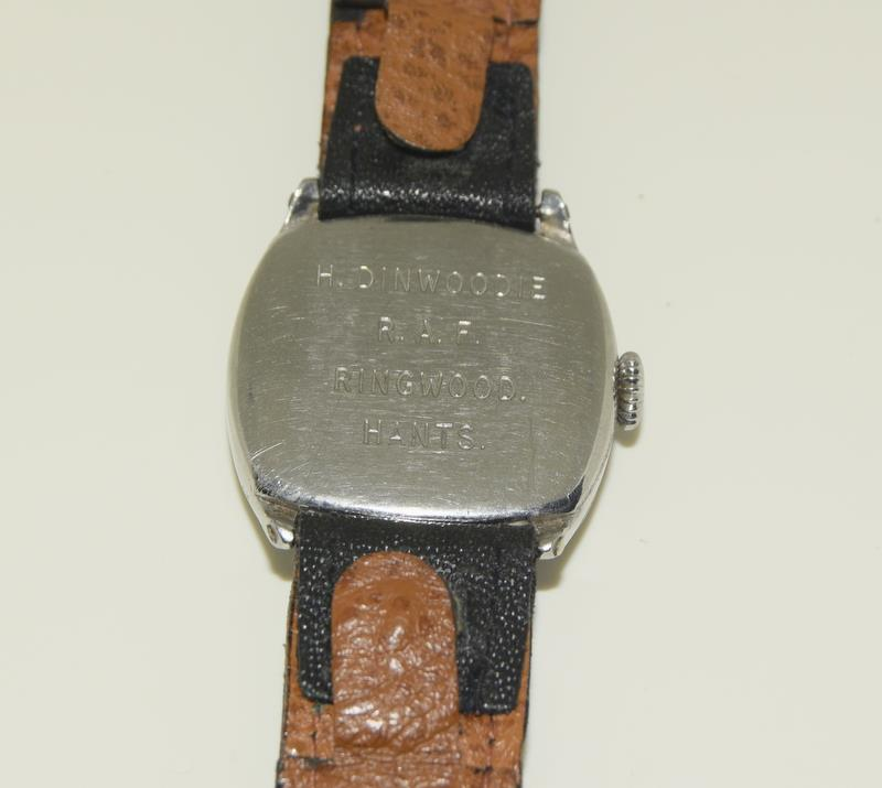 Omega gents 1930/40s manual wind wristwatch of RAF military interest (H.Dinwoodie RAF, British Army, - Image 6 of 8