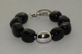 Black Onyx Accent Diamond 925 Silver Bracelet.