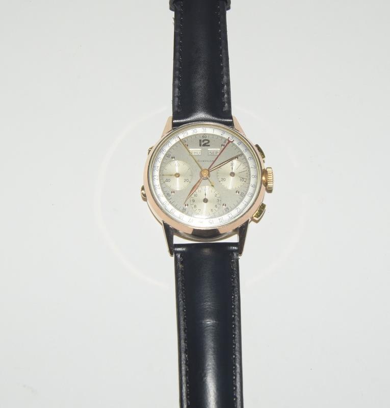 18ct Rose Gold Leonodas Triple Calander Chronograph Wristwatch. No.492472.