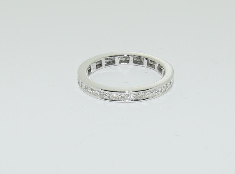 An 18ct white gold Princess cut Diamond 1.5ct full Diamond eternity band ring Size P 1/2.