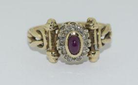 9ct Gold Antique Set Diamond & Cabochon ruby Ring. Size P