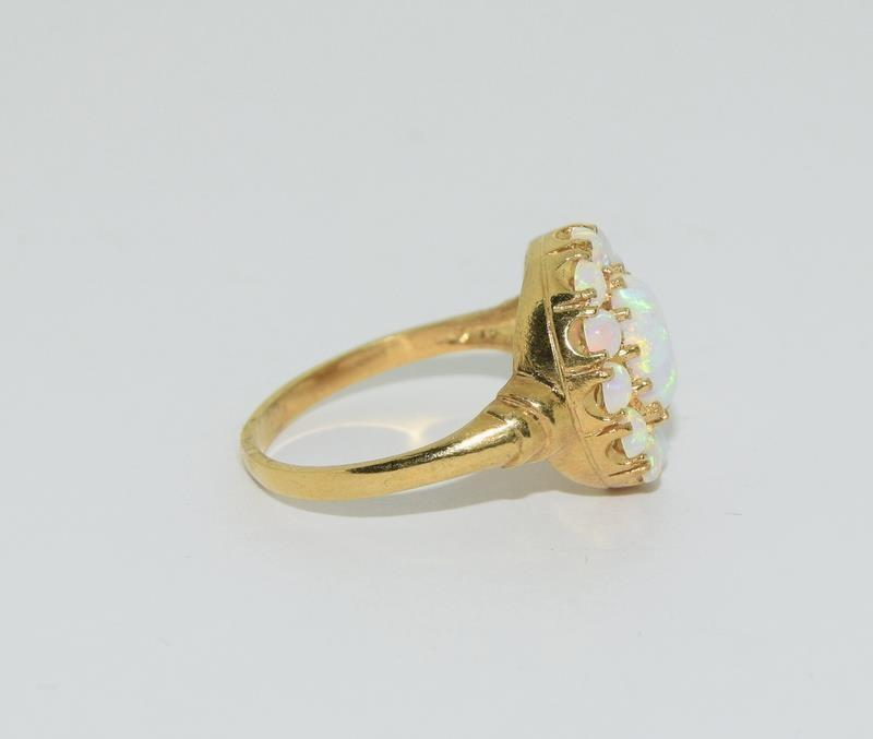 9ct Gold On Silver Opaline Cluster ring. - Image 2 of 6