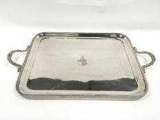 Large two handed Silver tray of approximately 2 kilos in weight.