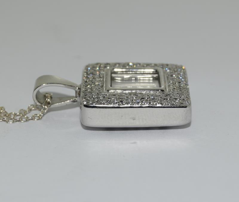 A 14ct white gold diamond Geometric glazed panel pendant. - Image 3 of 5