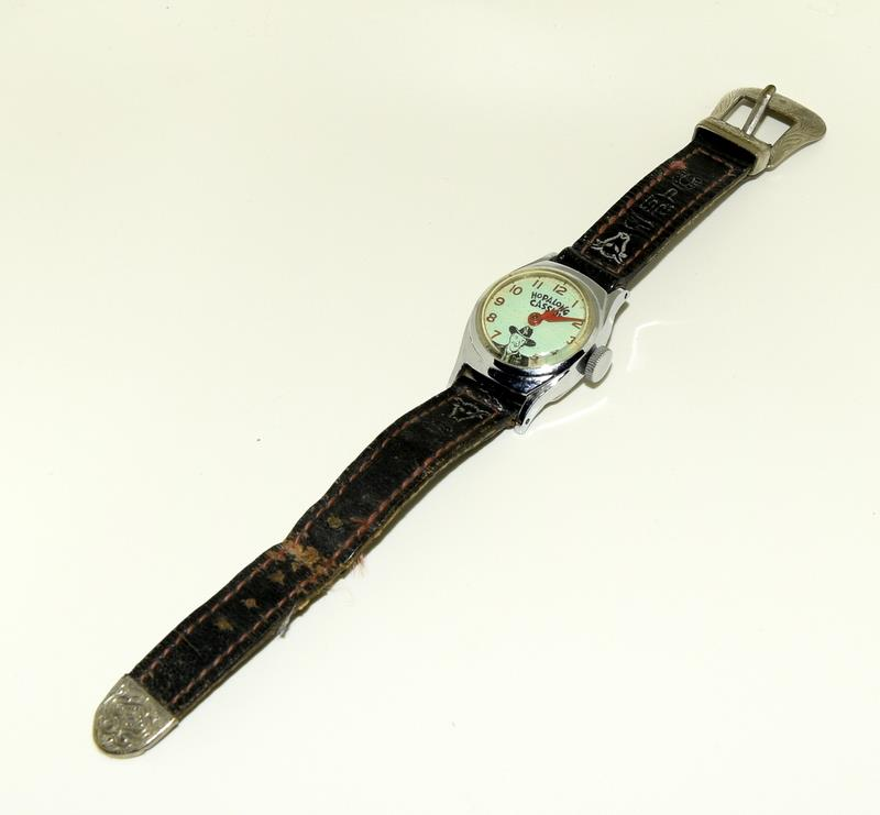 "Timex Hop Along Cassidy manual wind 1950s original watch. Signed on the back ""Good Luck Hoppy """