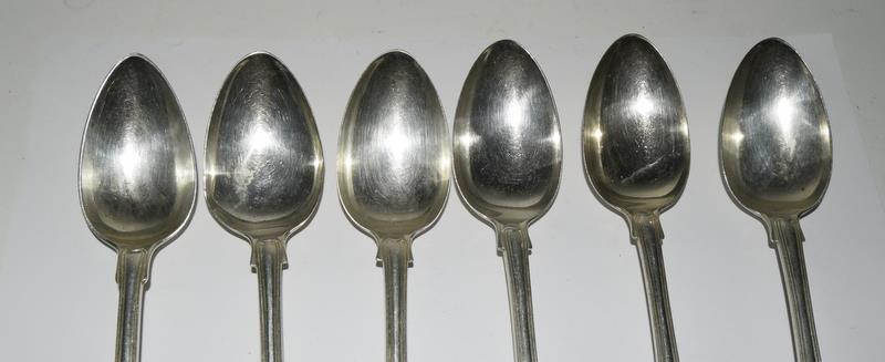 Six Silver hallmarked dessert spoons. 315 grams. - Image 2 of 5