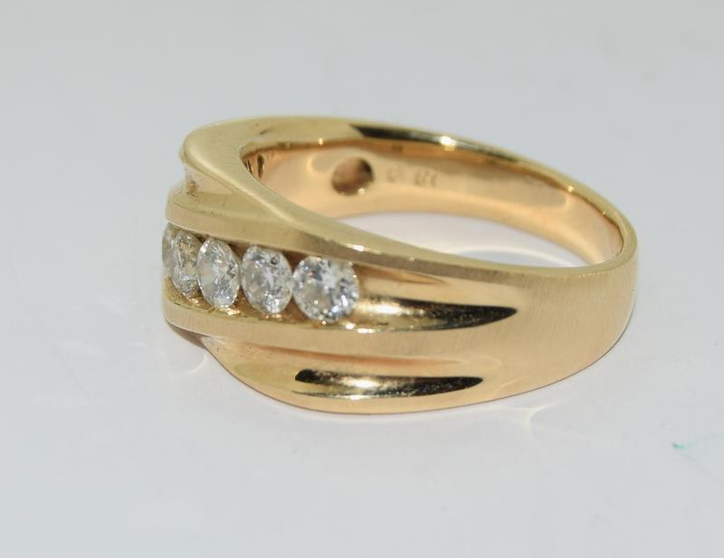 14ct Gold Gents 5 stone Diamond Signet ring. Size W. - Image 7 of 10