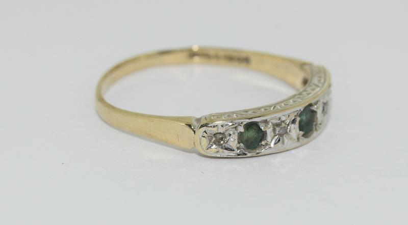 9ct Gold Antique Set Diamond 7 Sapphire Ring. Size O - Image 5 of 5