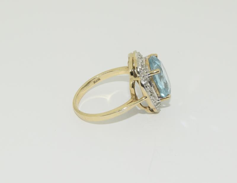 9ct Gold Antique Set Aquamarine Flower Ring - Image 2 of 6