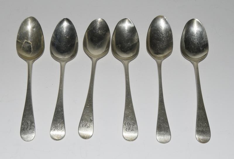 Six Silver hallmarked teaspoons. 95 grams.