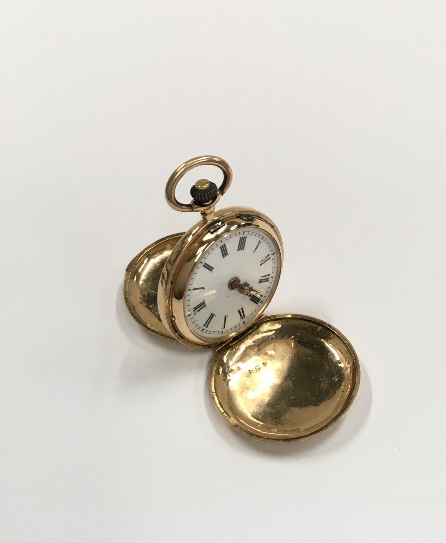 14ct Gold ladies Full Hunter pocket watch. - Image 3 of 6