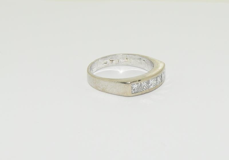 An 18ct white gold Princess cut half eternity band, Size Q, 6.7grams - Image 5 of 6