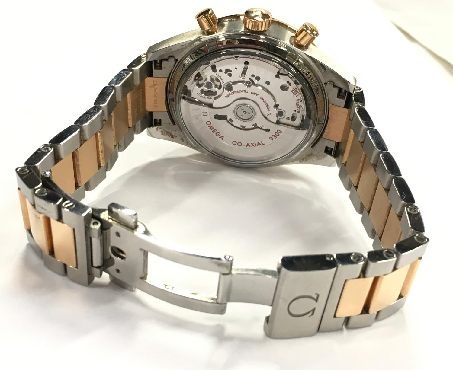 Omega Rose Gold and Stainless Steel Speedmaster Wristwatch, co-axial movement. - Image 6 of 11
