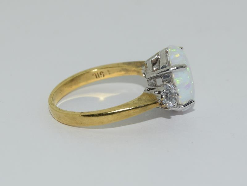 9ct Gold On Silver Opaline Trilogy ring. - Image 2 of 6