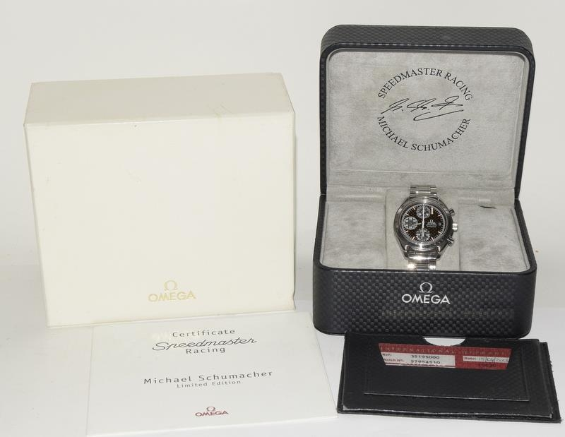 Omega Limited Edition Michael Schumacher watch with box and papers. Number 6977 of 11111.