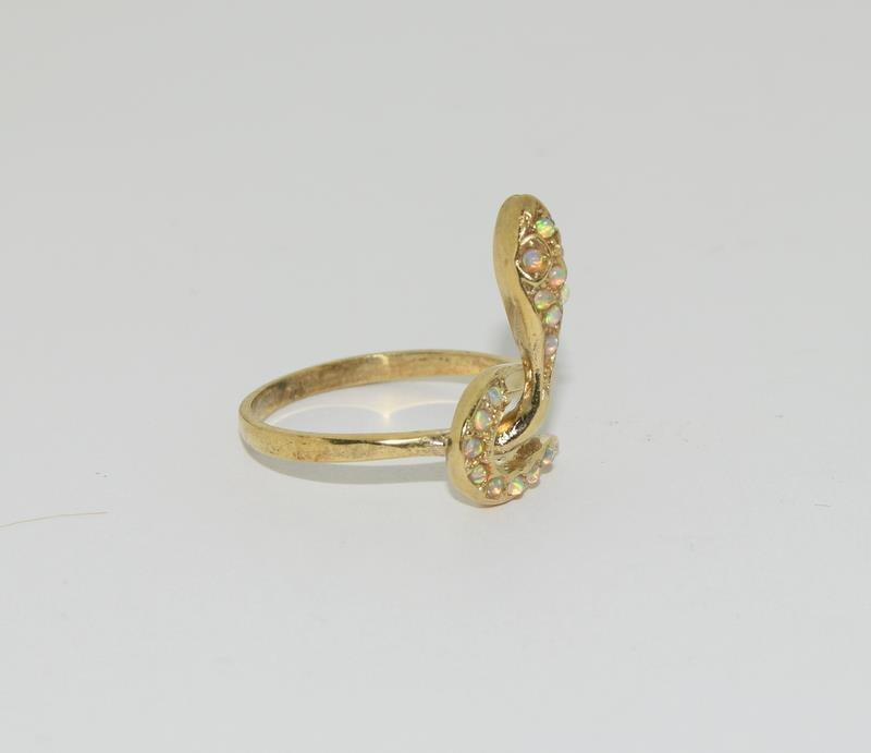 9ct Gold On Silver Opaline Snake ring. - Image 5 of 6