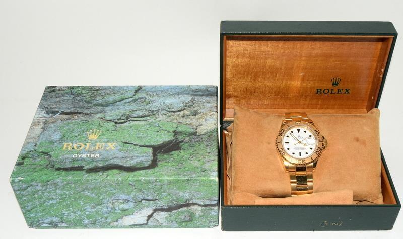 Rolex 18ct Gold Yachtmaster Wristwatch in original box.