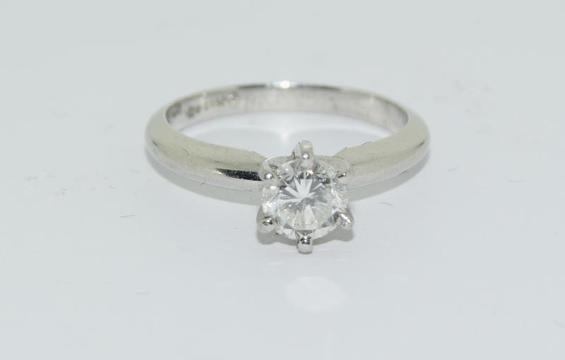 A Platinum set single stone ring of 65 points approx. Size L - Image 6 of 6