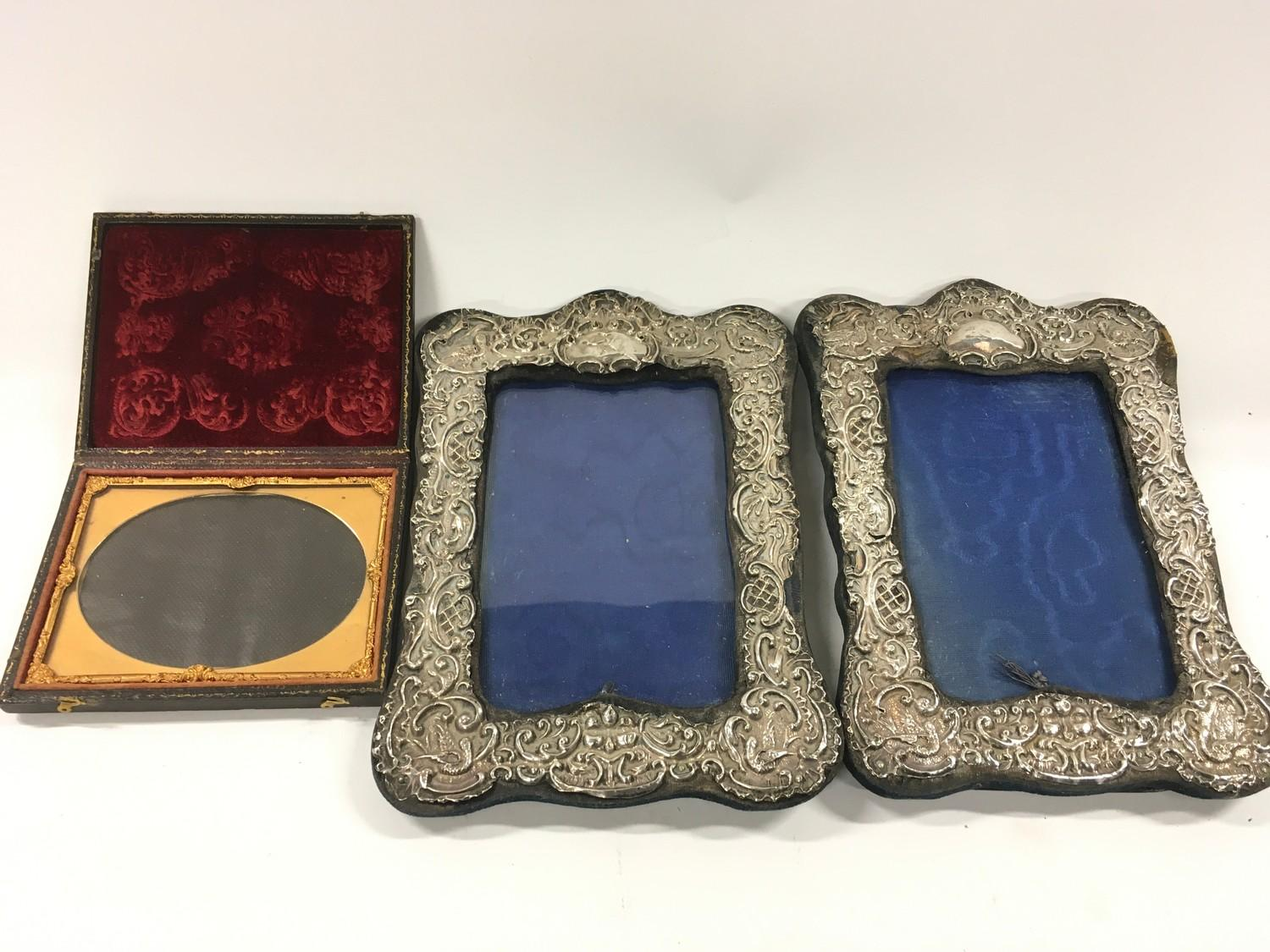 2 filigree Silver Embossed picture frames and a Victorian travelling picture frame.