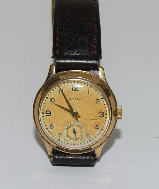 Cyma 1939 gents 9ct Gold wrist watch.