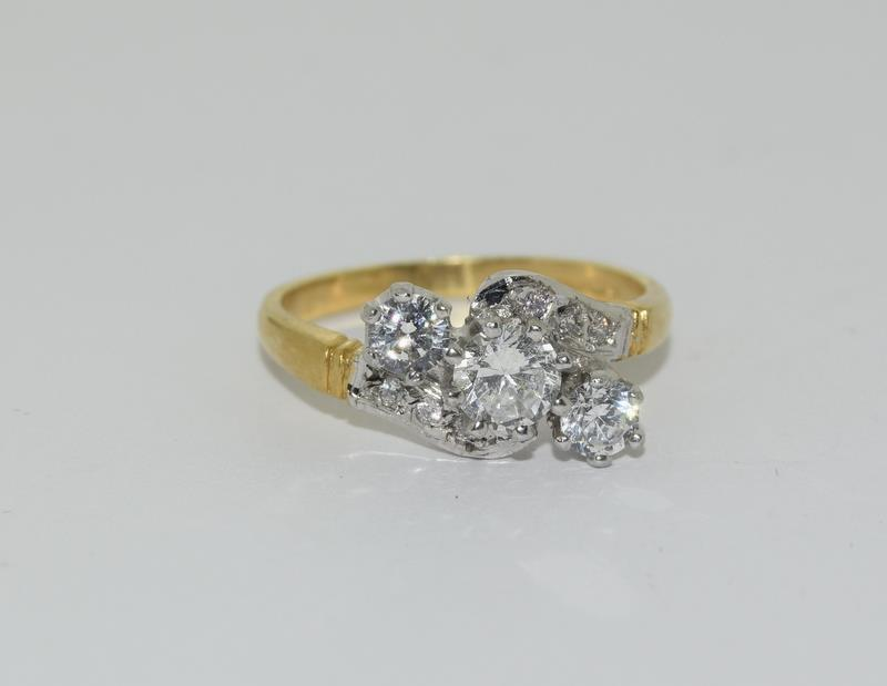 9ct Gold On Silver 3 stone CZ Twist ring.