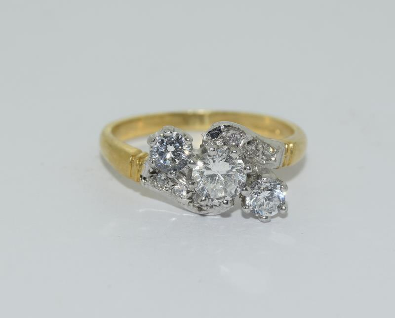 9ct Gold On Silver 3 stone CZ Twist ring. - Image 6 of 6