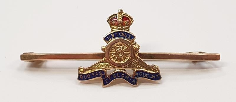 9ct gold Royal Artillery Sweetheart Brooch.