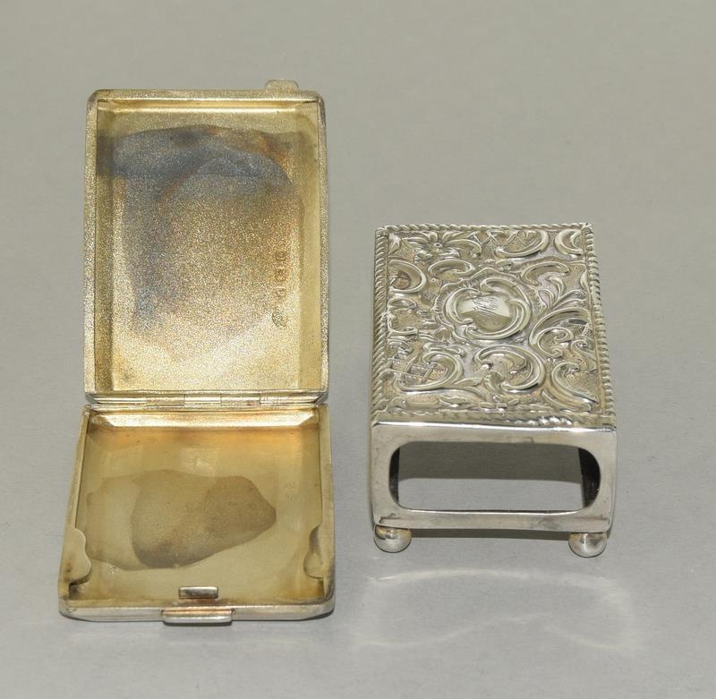 Silver Engine Turned Matchbook Holder and a Silver Matchbox Holder - Image 3 of 4