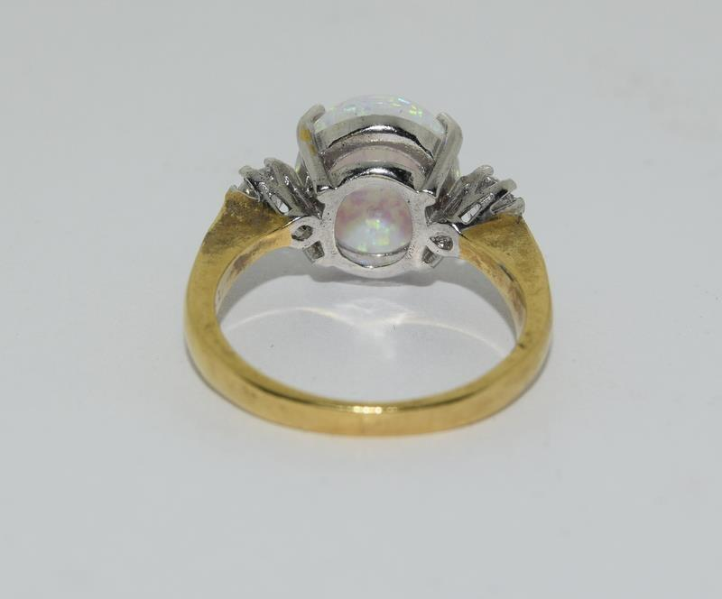 9ct Gold On Silver Opaline Trilogy ring. - Image 3 of 6