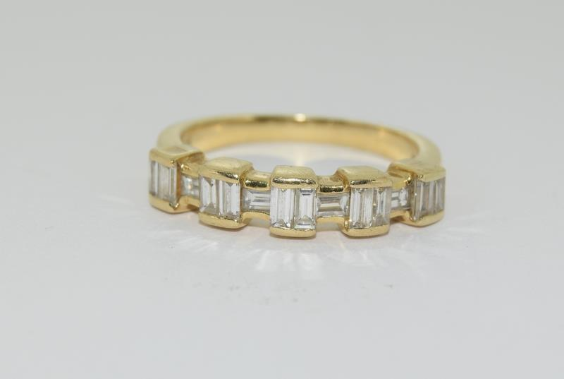Baguette set Diamond ring - approx 0.75 points total, set in heavy 18ct Yellow Gold. Size O, Boxed. - Image 2 of 7