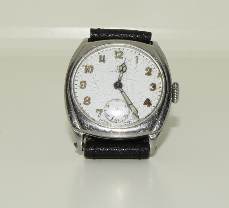 Omega gents 1930/40s manual wind wristwatch of RAF military interest (H.Dinwoodie RAF, British Army, - Image 7 of 8